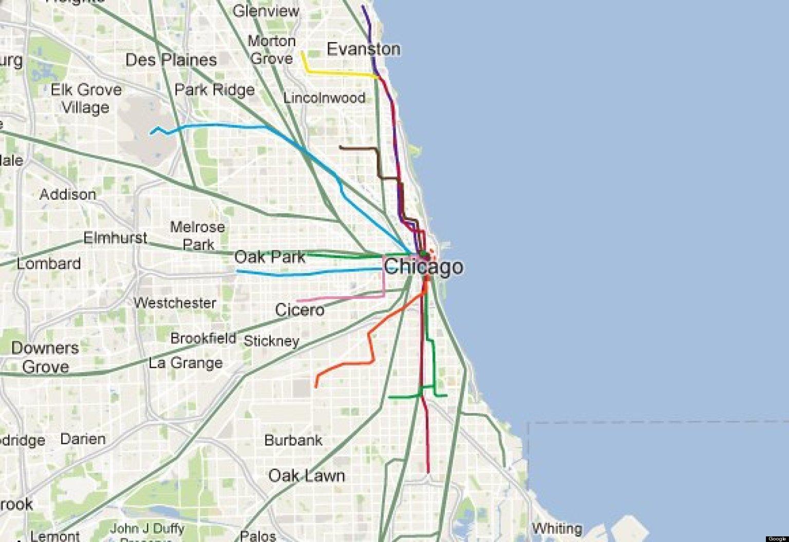 linje på kart Chicago blå linje kart   Chicago blå linje tog kart (Usa) linje på kart