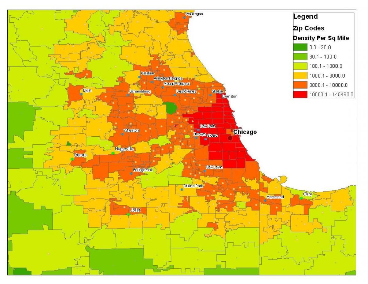 Chicago demografi kart Demografiske kart over Chicago Usa