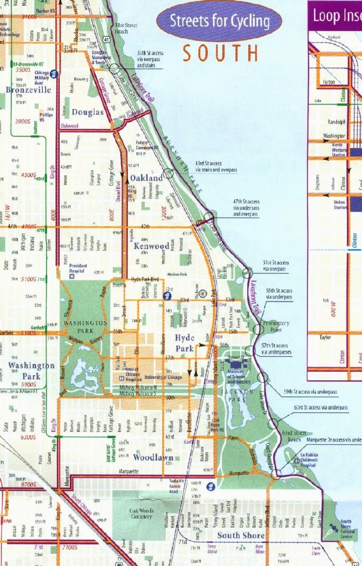 sykkel kart Chicago sykkel kart   Chicago sykkel kjørefelt kart (Usa) sykkel kart